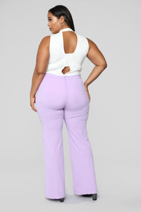 Victoria High Waisted Dress Pants - Lavender Angle 12