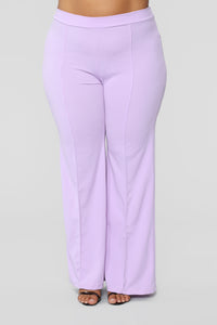 Victoria High Waisted Dress Pants - Lavender Angle 9