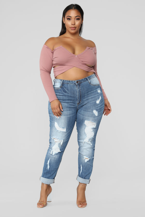 e85bd8cc1c3 Take It Or Leave It Long Sleeve Crop Top - Mauve