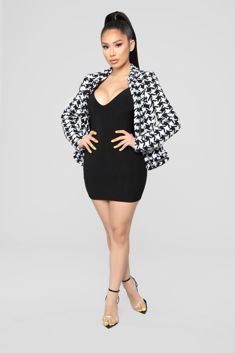 Houndstooth Chain Jacket - Black/White