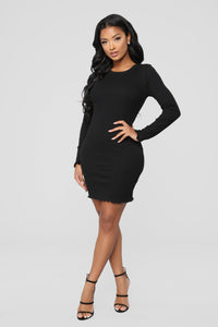 Stop Staring At Me Rib Dress - Black