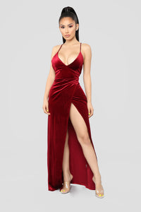 Angelique Velvet Maxi Dress - Dark Burgundy Angle 1