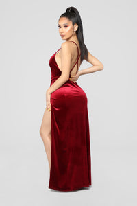 Angelique Velvet Maxi Dress - Dark Burgundy Angle 9