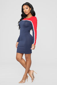 Behind Closed Doors Colorblock Dress - Navy/Red