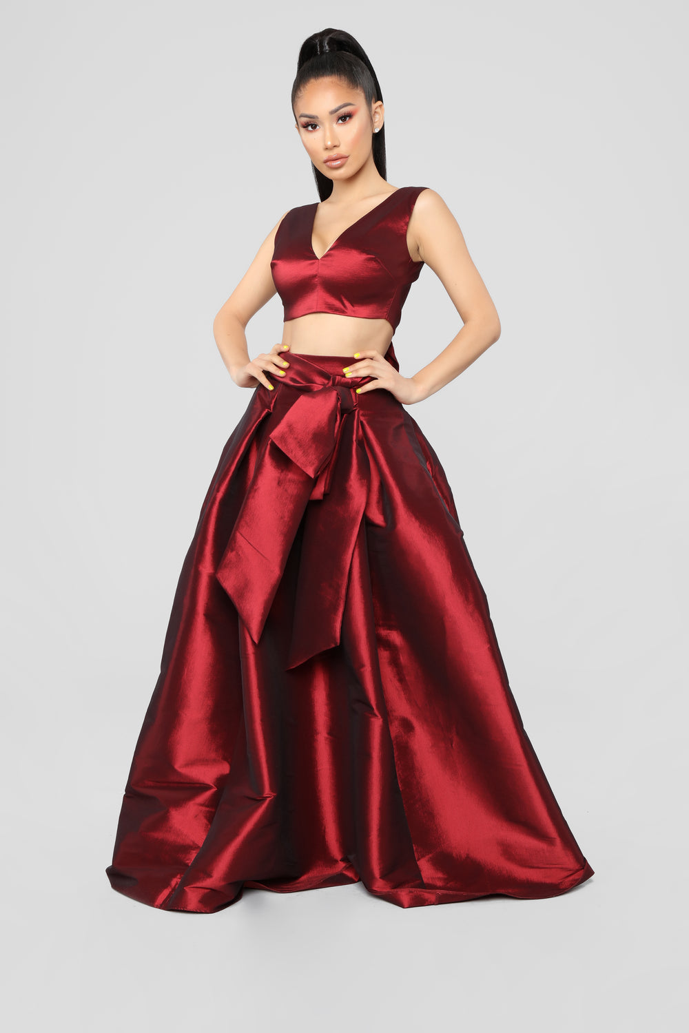 Just A Love Story Skirt Set - Wine