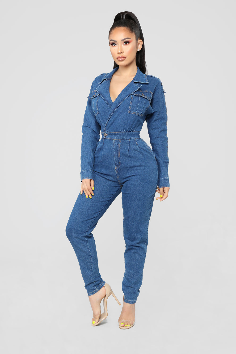 Timeless Fashion Jumpsuit - Medium Wash
