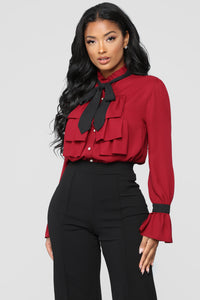 Better Now Tie Neck Blouse - Burgundy