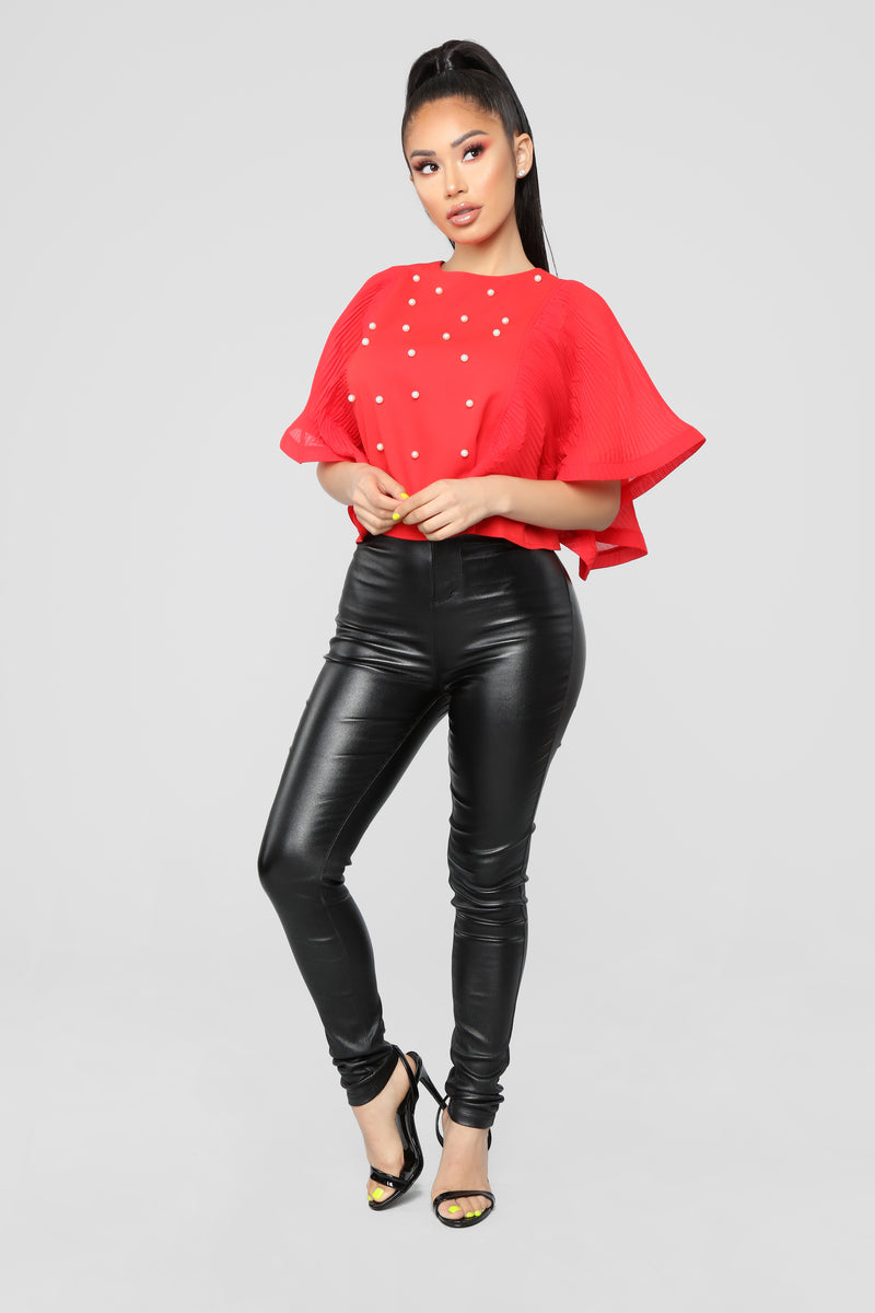 Don't Pearl With Me Blouse - Red