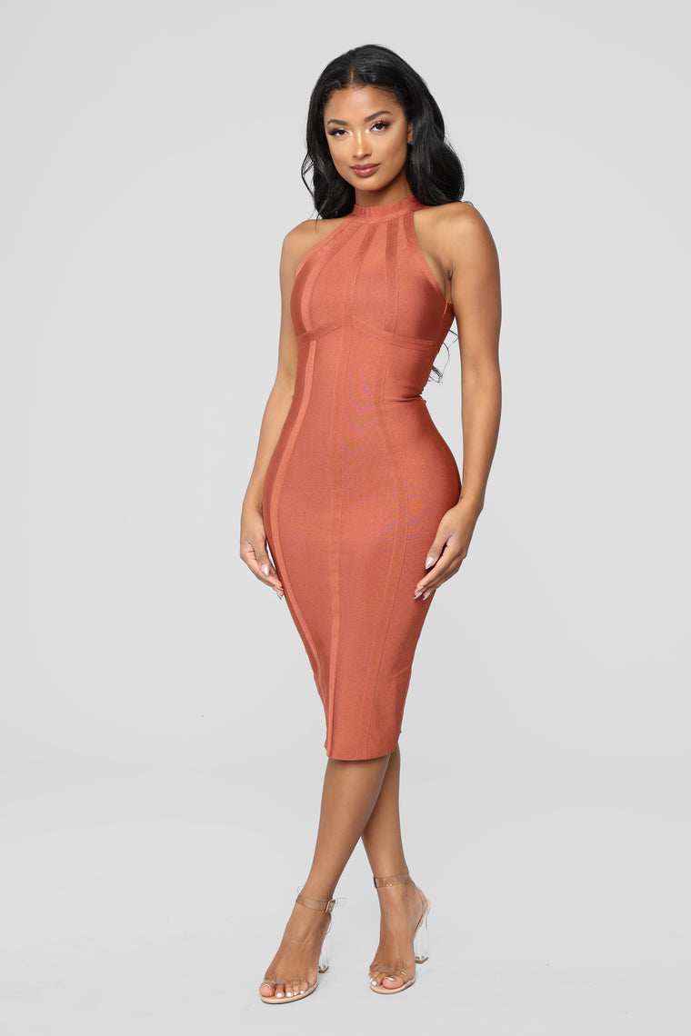 Kamila Bandage Midi Dress   Brick by Fashion Nova