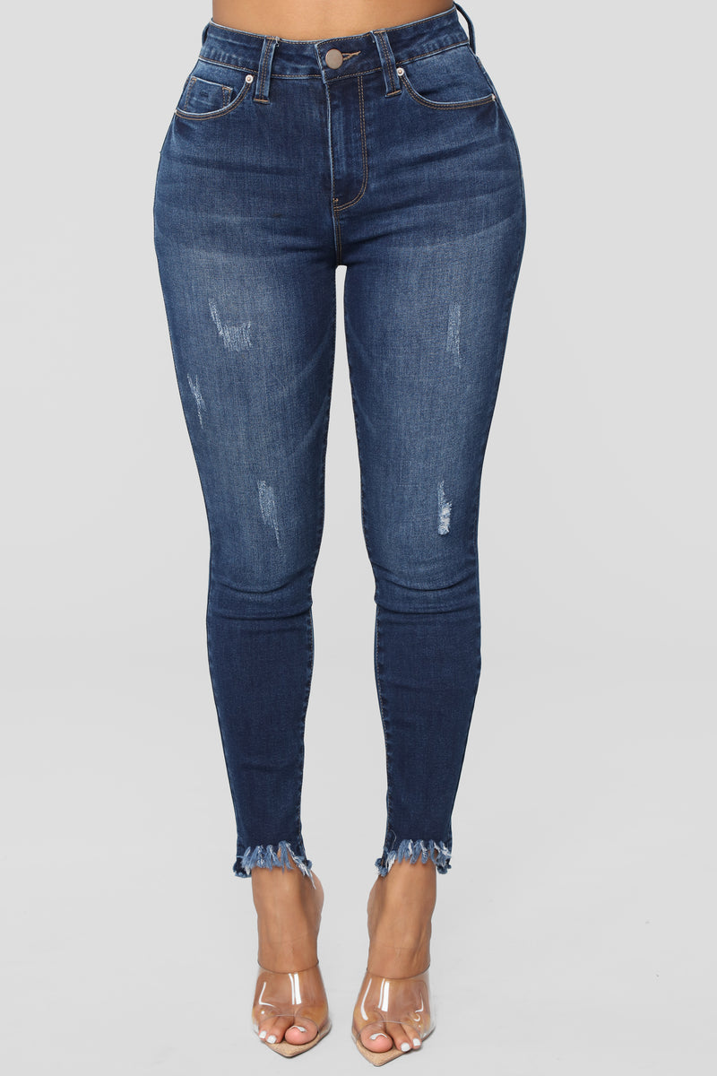 Casually Creepin' High Rise Jeans - Dark Denim
