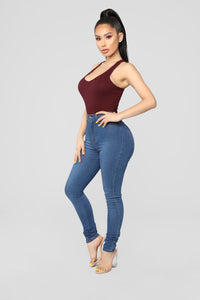 Zoey Racer Back Bodysuit - Burgundy