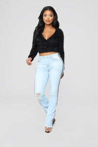 Read Between The Lines Flare Jeans - Light Blue Wash