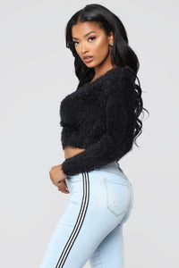 Melissa Cropped Surplice Sweater - Black