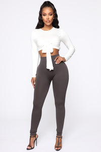 Smooth It Out High Rise Legging - Charcoal Angle 4