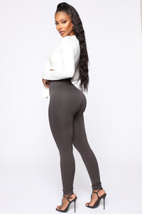 Smooth It Out High Rise Legging - Charcoal Angle 3
