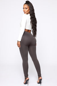 Smooth It Out High Rise Legging - Charcoal Angle 6