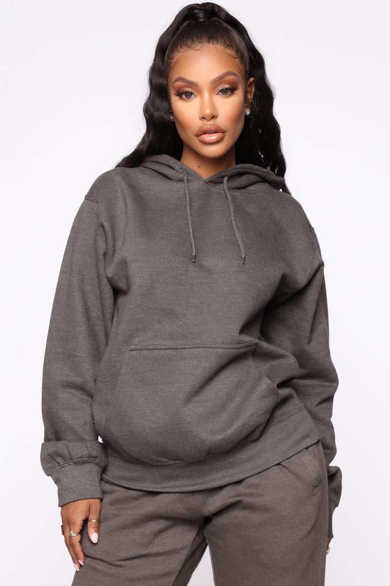 Stole Your Boyfriend's Oversized Hoodie - Charcoal