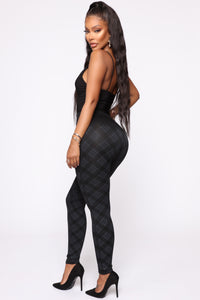 See You Later Plaid Leggings - Black/Grey