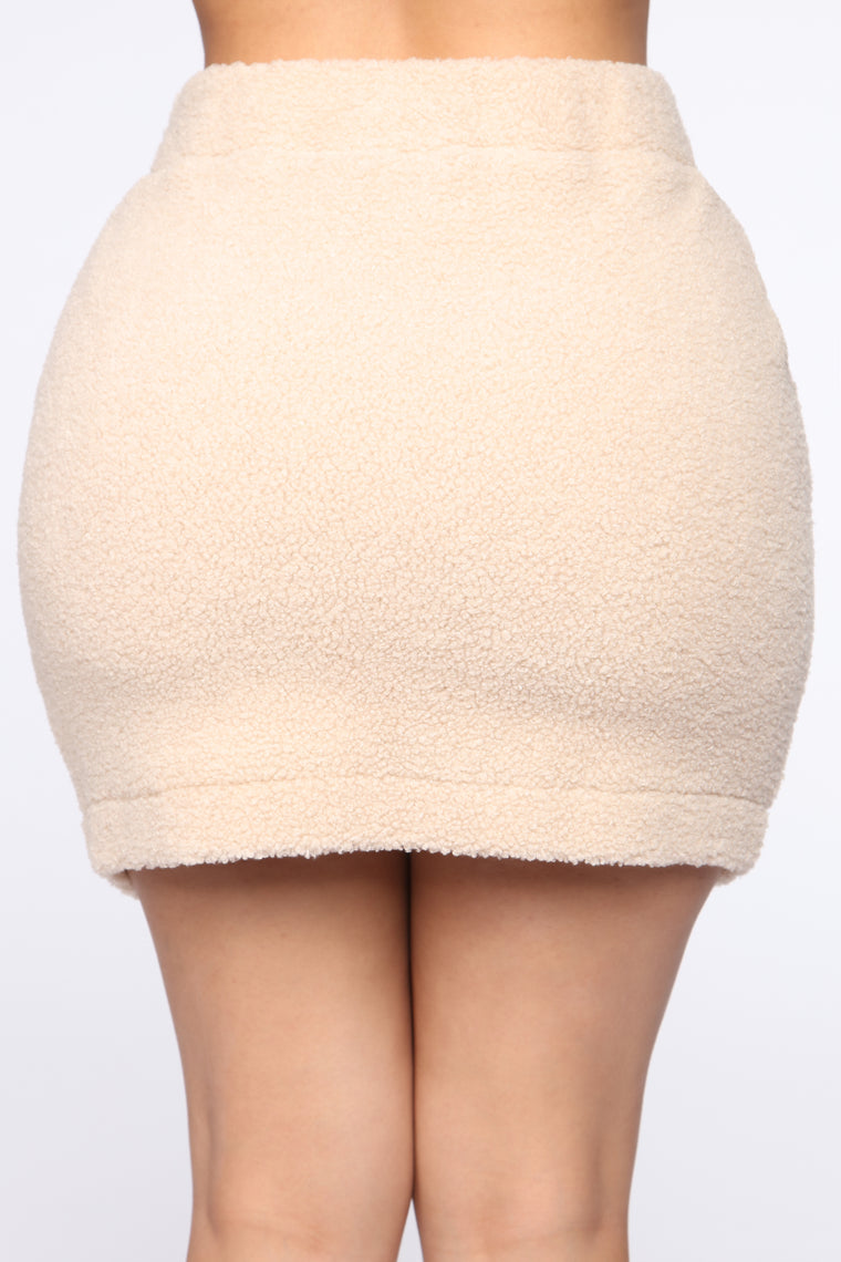 Soft Like Sherpa Skirt Set - Taupe