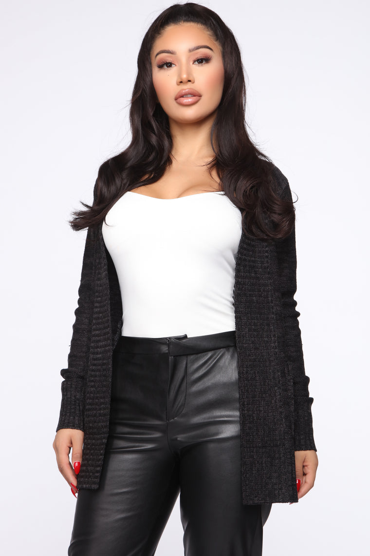 Moments After Cardigan   Black/Charcoal by Fashion Nova