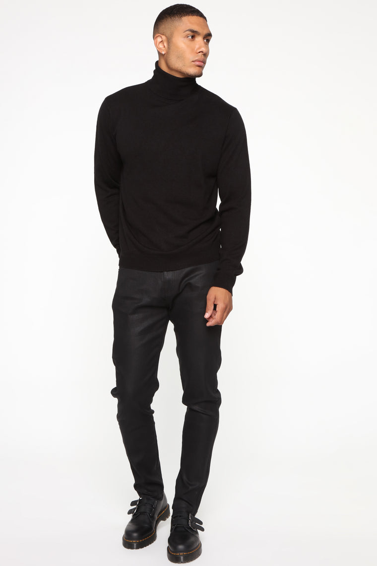 Not Like Others Waxed Slim Taper Jean - Black