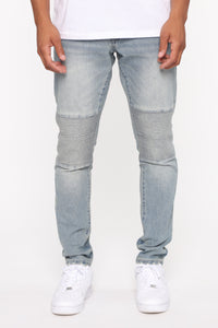 Stay Swervin Distress Moto Jean- VintageBlueWash Angle 1