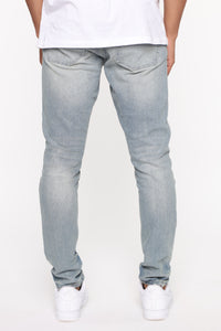 Stay Swervin Distress Moto Jean- VintageBlueWash Angle 5