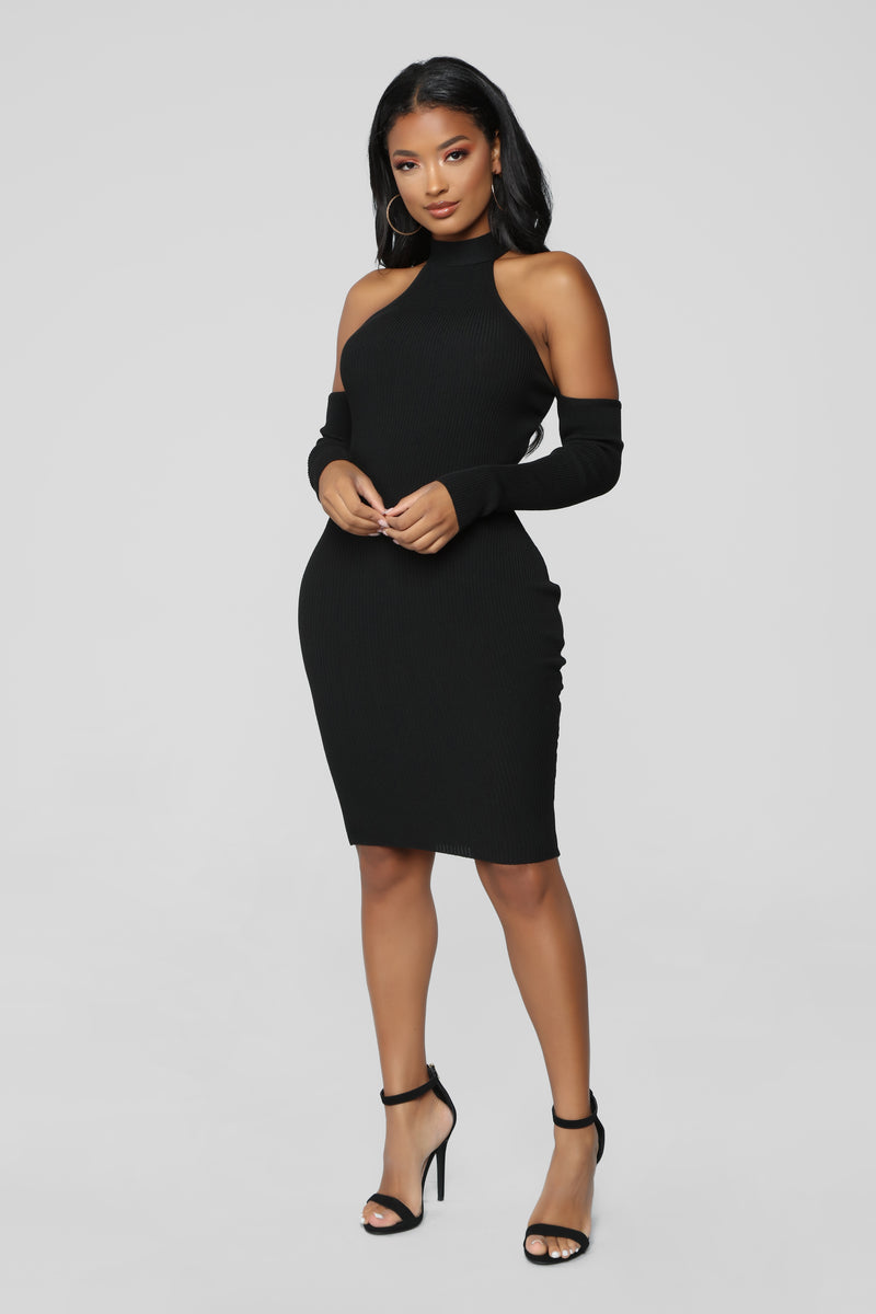 the realest ribbed dress black
