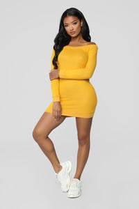 Free Fallin' Off Shoulder Dress - Mustard