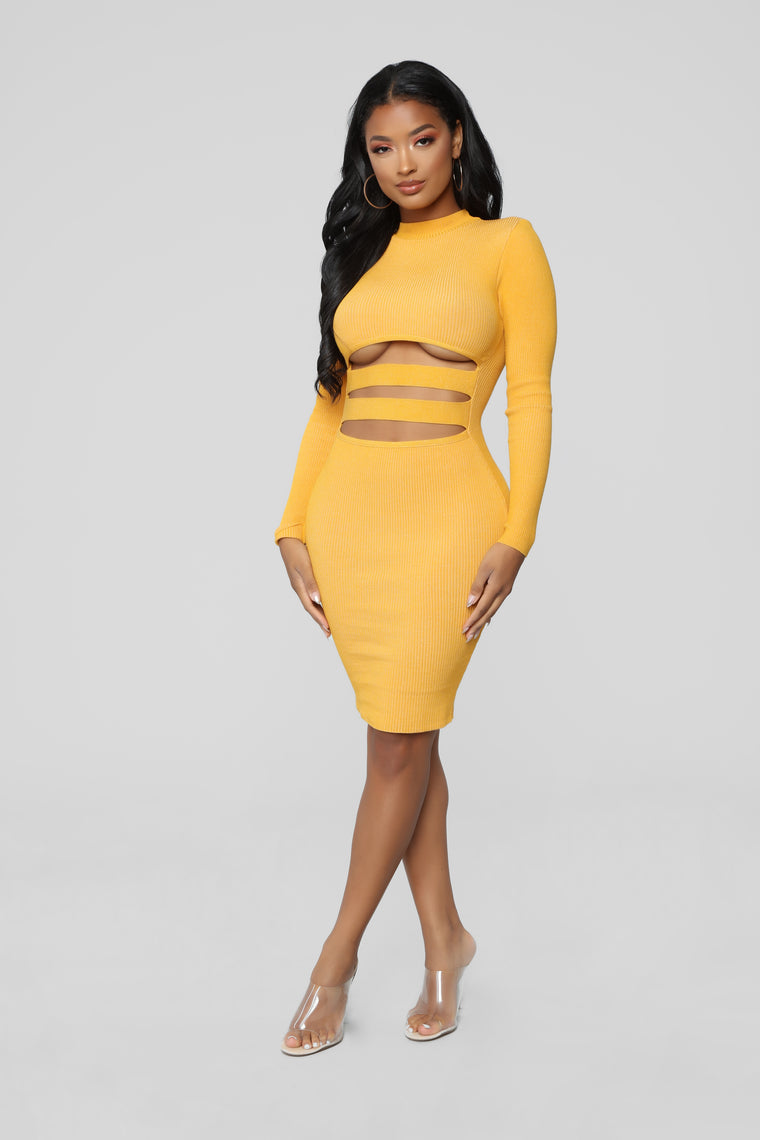 Heavy Hitter Cutout Dress - Mustard