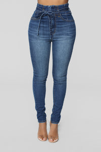 Don't Be Uptight Paperbag Waist Jeans - Dark Denim Angle 1