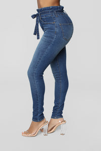 Don't Be Uptight Paperbag Waist Jeans - Dark Denim Angle 3