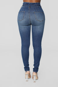 Don't Be Uptight Paperbag Waist Jeans - Dark Denim Angle 5