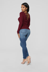 Have My Back Long Sleeve V Neck Sweater - Burgundy