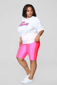 Curves For Days Biker Shorts - Hot Pink Angle 10