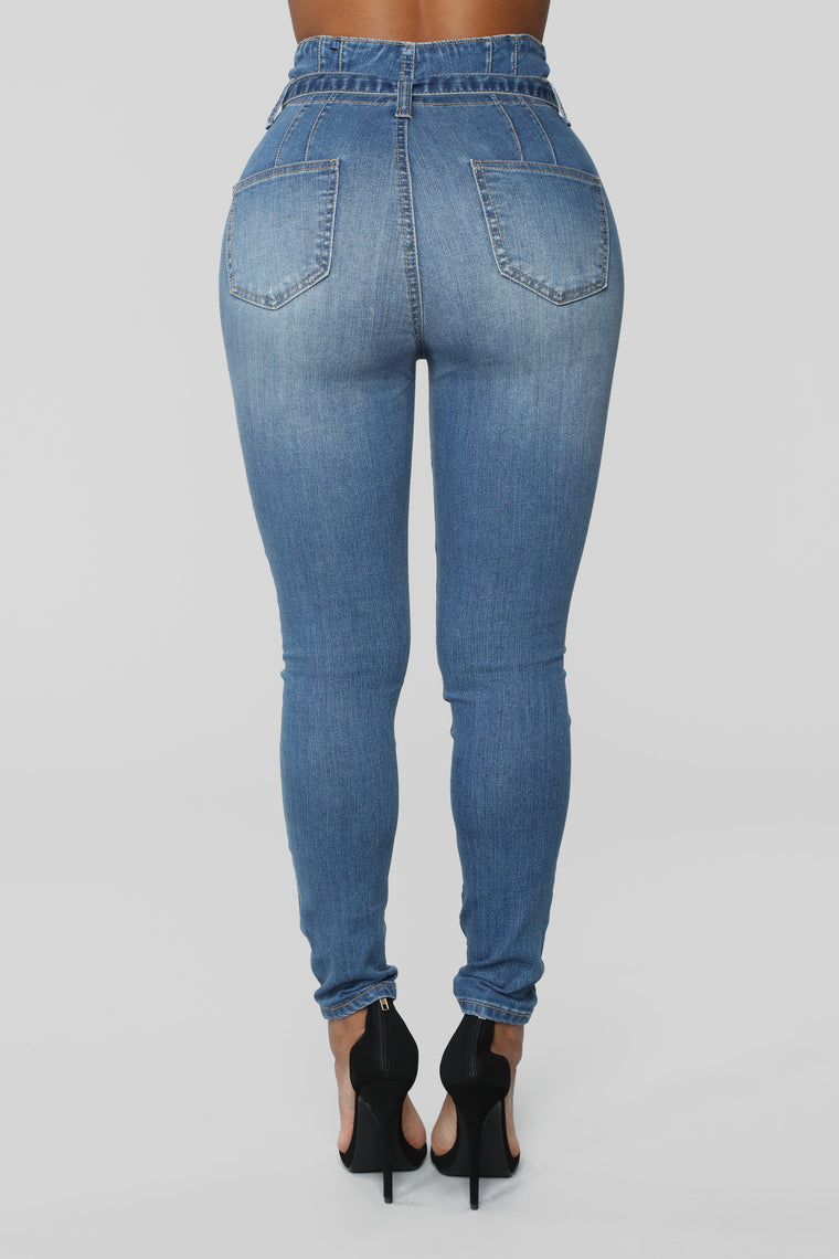 Don't Be Uptight Paperbag Waist Jeans - Medium Blue Wash