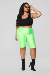 Curves For Days Biker Shorts - Neon Green Angle 7