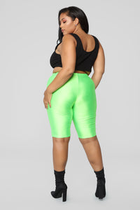 Curves For Days Biker Shorts - Neon Green Angle 12