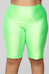 Curves For Days Biker Shorts - Neon Green Angle 9