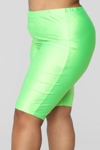 Curves For Days Biker Shorts - Neon Green Angle 11