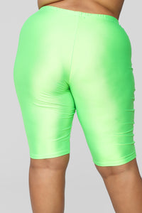 Curves For Days Biker Shorts - Neon Green Angle 13