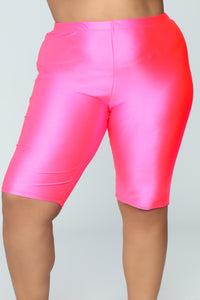 Curves For Days Biker Shorts - Hot Pink Angle 7