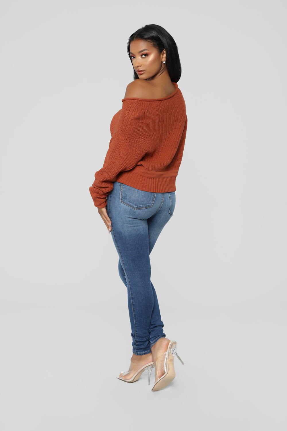 Eve Cropped Sweater - Brick