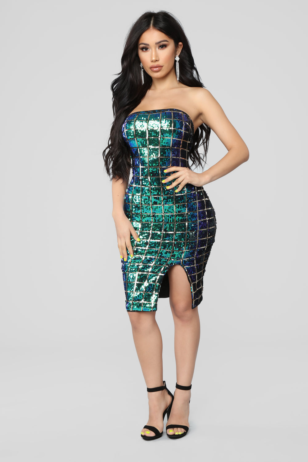 On My Block Sequin Dress - Green