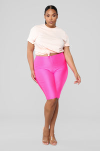 Curves For Days Biker Shorts - Hot Pink