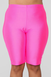 Curves For Days Biker Shorts - Hot Pink Angle 12