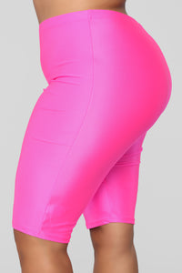 Curves For Days Biker Shorts - Hot Pink Angle 11