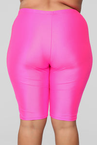 Curves For Days Biker Shorts - Hot Pink Angle 13