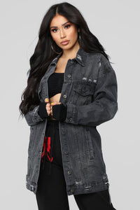 Miss Stressed Denim Jacket - Black Denim