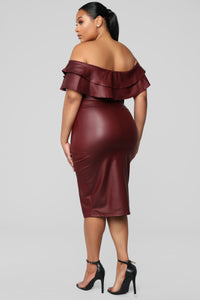 Fall Into Place Dress - Burgundy Angle 8